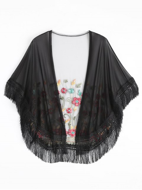 women's Embroidered Mesh Tassel Kimono Cover Up - BLACK ONE SIZE Mobile