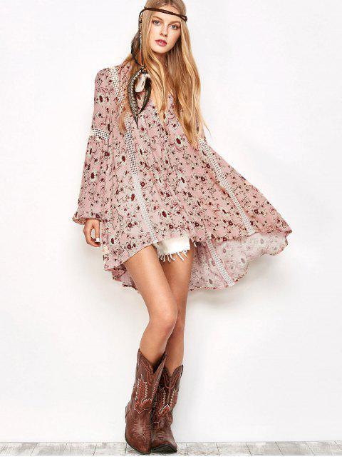 fashion Floral Print Boho Swing Dress - PINK L Mobile