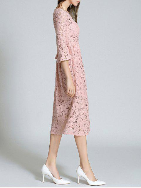 best Round Neck Flare Sleeve Lace Dress - PINK L Mobile