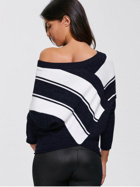 outfit Pullover Skew Neck Color Block Sweater - PURPLISHBLUE + WHITE XL Mobile