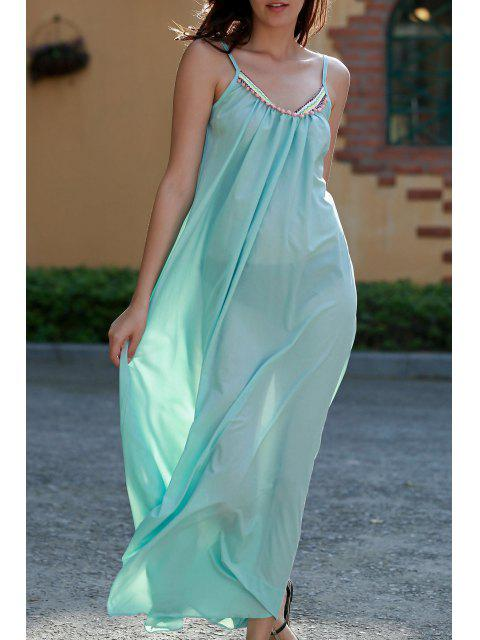 buy Carter Splice Cami Backless Maxi Dress - TURQUOISE L Mobile