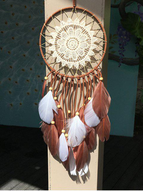Dreamcatcher Crochet Flower Feather Hang Décoration intérieure - Multicouleur  Mobile