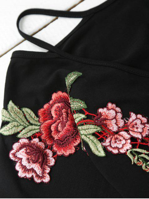sale Cami Flower Applique V Neck T-Shirt - BLACK L Mobile