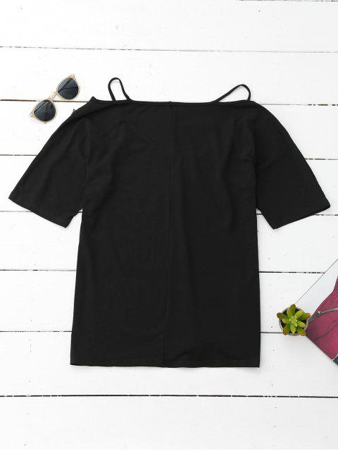 Cami Flower Applique V Neck T-Shirt - Noir L Mobile
