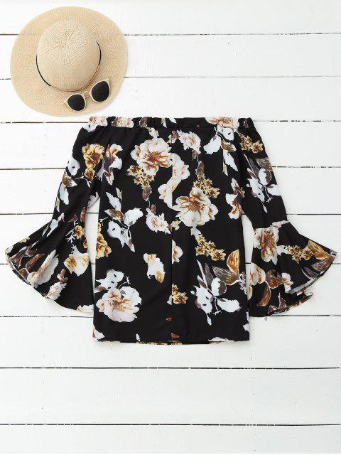 latest Floral Off Shoulder Bell Sleeve Blouse - COLORMIX XL Mobile