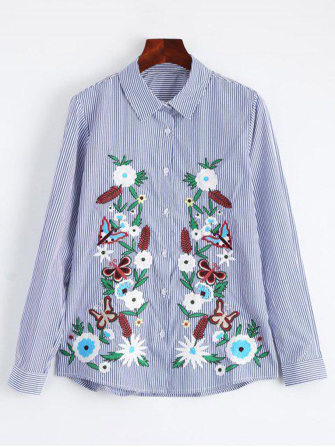 Chemise brodée en coton à rayures - Rayure S Mobile