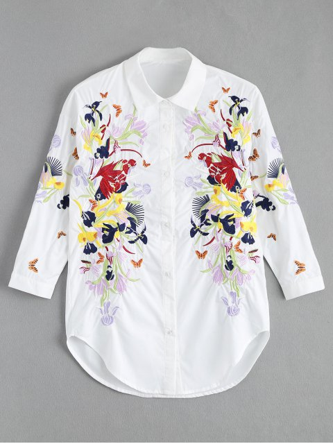unique Floral Butterfly Embroidered Shirt - WHITE M Mobile