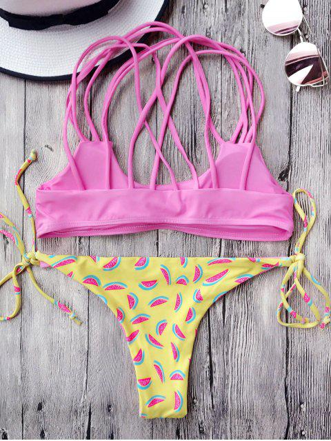 online Watermelon Print Tieside Thong Bikini Set - PINK S Mobile