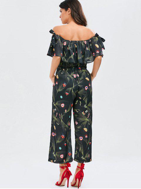 shop Off Shoulder Floral Butterfly Wide Leg Jumpsuit - BLACK ONE SIZE Mobile