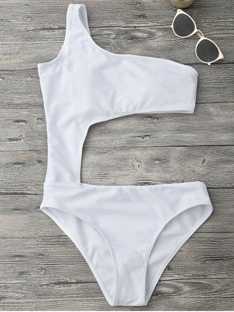 chic Asymmetric Cutout One Piece Monokini Swimsuit - WHITE XL Mobile