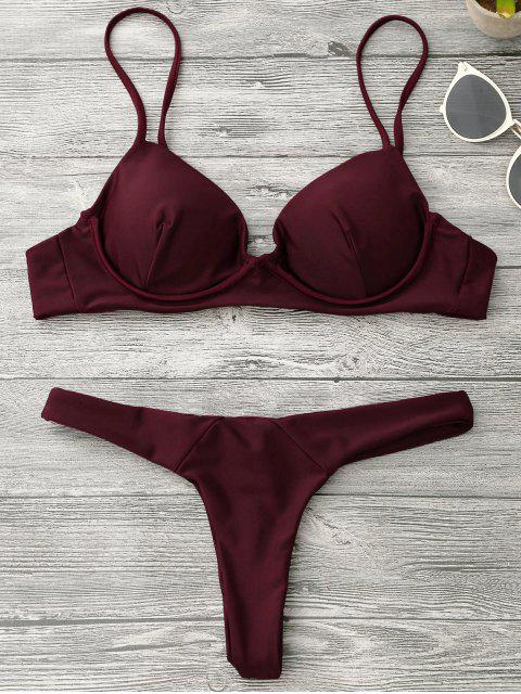 online Underwire Push Up Thong Bikini Set - BURGUNDY M Mobile