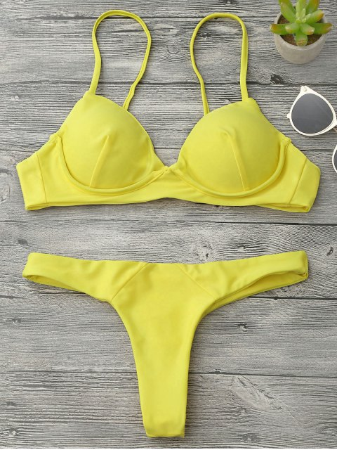 outfits Underwire Push Up Thong Bikini Set - YELLOW S Mobile