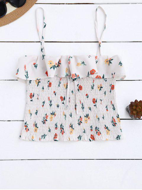 womens Cami Smocked Ruffles Tank Top - FLORAL M Mobile