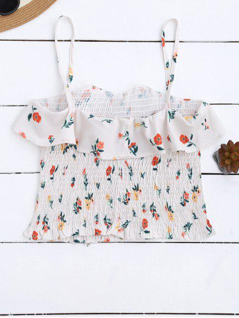 women Cami Smocked Ruffles Tank Top - FLORAL S Mobile