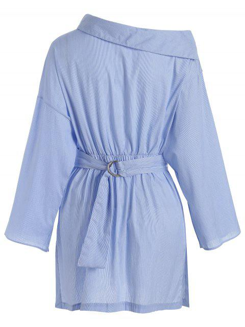 ladies Side Button Belted Shirt Casual Dress - STRIPE M Mobile