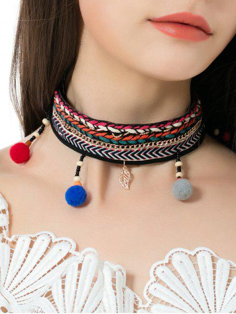 Braid Broderie Ball Leaf Ethnic Choker Collier - Multicouleur  Mobile