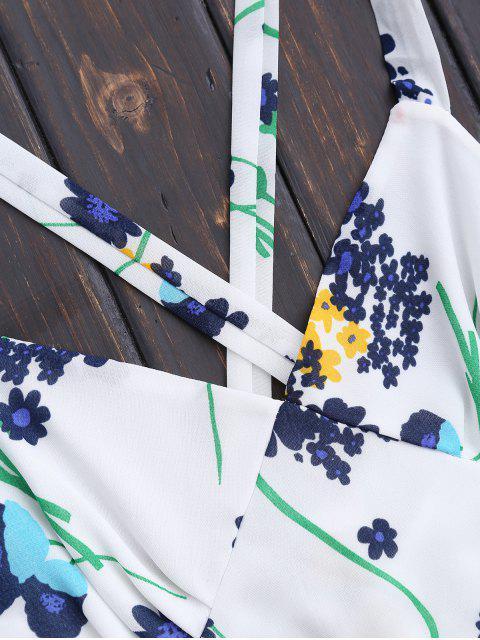 Robe d'été florale à dos nu à taille haute - Blanc XL Mobile