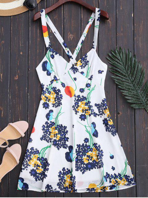 trendy Floral Open Back Empire Waist Summer Dress - WHITE XL Mobile