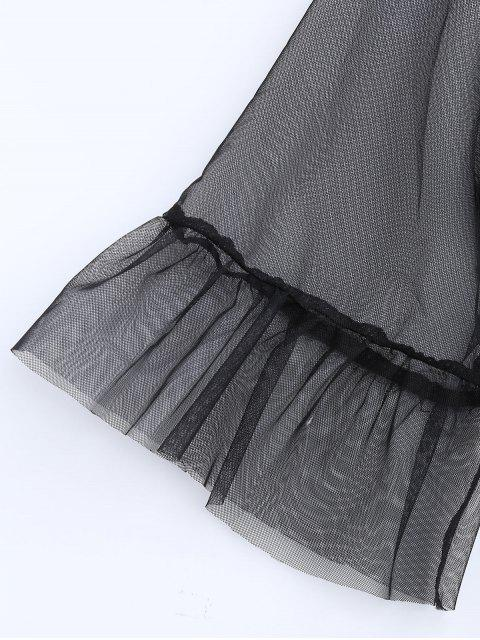 women's Tulle Plunge Flare Sleeve Top - BLACK L Mobile