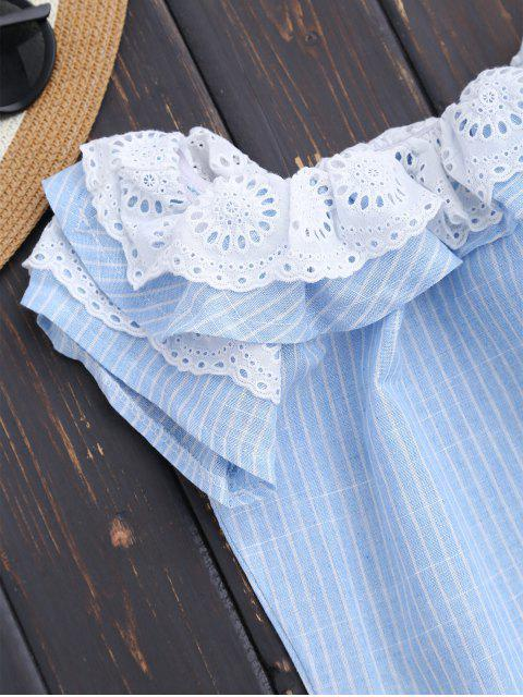 buy Off Shoulder Ruffle Striped Dress With Pockets - LIGHT BLUE S Mobile