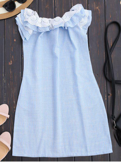 womens Off Shoulder Ruffle Striped Dress With Pockets - LIGHT BLUE M Mobile