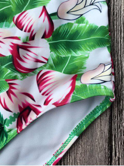 unique Zippered Cut Out Printed Swimsuit - GREEN XL Mobile