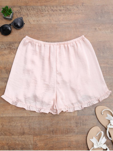 shops Satin Drawstring Tulip Cover Up Shorts - PINKBEIGE M Mobile