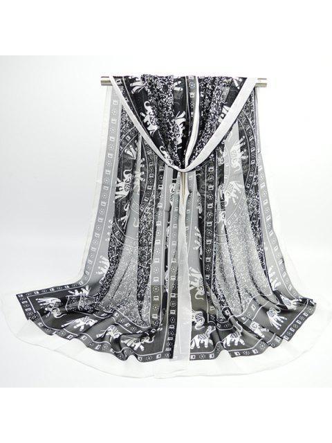 Bohemio Totem elefante impreso bufanda de gasa - Negro  Mobile