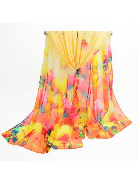 Flores de flor de lujo impreso chifón bufanda chal - Amarillo  Mobile