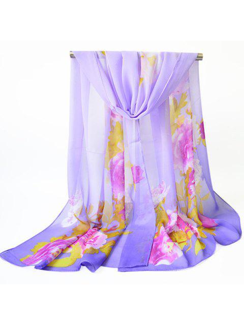 Flores de flores impresas chifón chal bufanda - Púrpura  Mobile