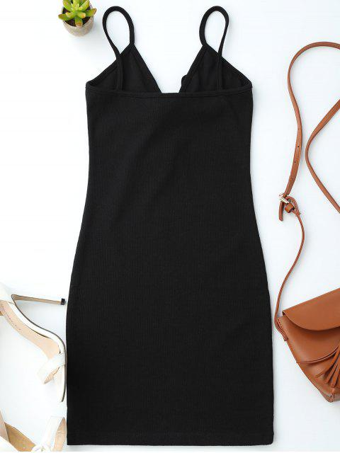 women's Lace Up Cami Knit Bodycon Dress - BLACK ONE SIZE Mobile