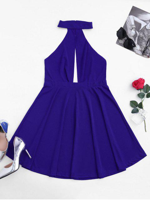 outfit Sleeveless Plunge Mesh Backless Dress - BLUE M Mobile