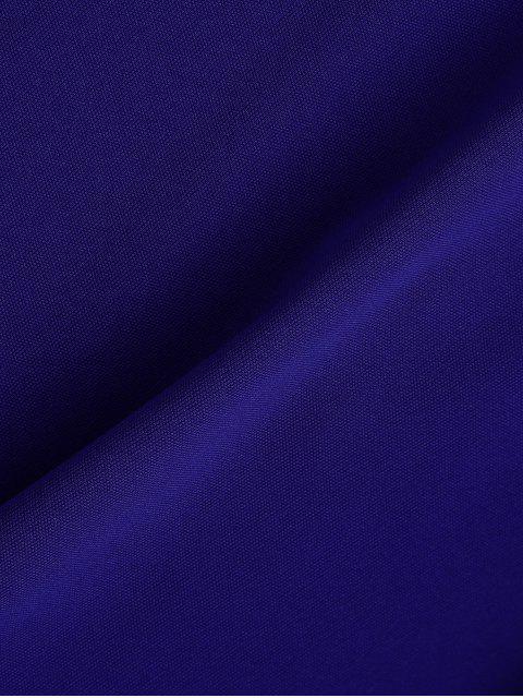 Robe sans manches col plongeant dos nu en tulle - Bleu S Mobile