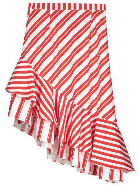 women Two Tone Asymmetric Mermaid Striped Skirt - RED XS Mobile