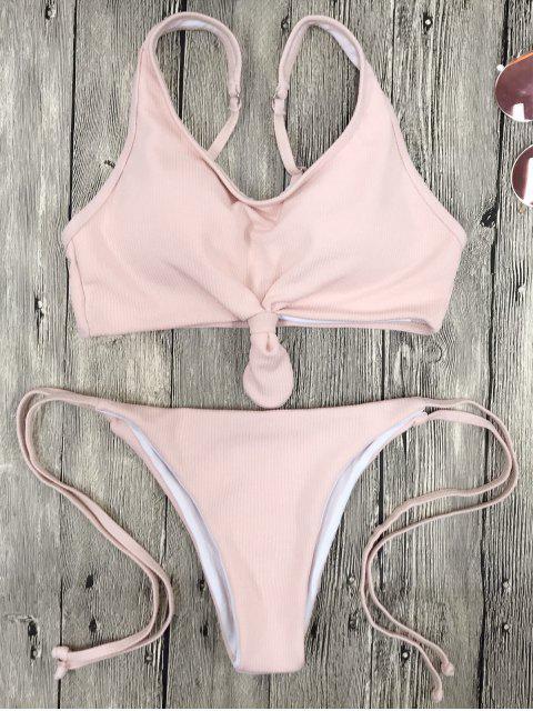Ensemble de bikinis à bretelles spaghetti avec ficelle - ROSE PÂLE S Mobile
