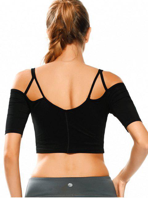 chic Cold Shoulder Padded Sweat Crop Top - BLACK M Mobile