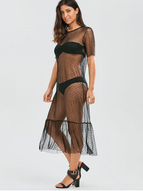 outfits Sheer Ruffle Mesh Cover Up With Dot - BLACK XL Mobile
