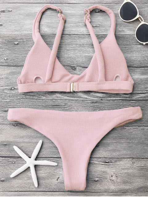 ladies Low Waisted Padded Scoop Bikini Set - PINK S Mobile