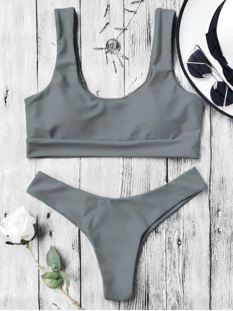 buy U Neck Bralette Thong Bikini Set - GRAY S Mobile