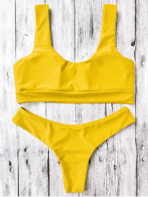 unique U Neck Bralette Thong Bikini Set - YELLOW S Mobile