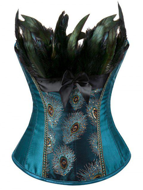 womens Lace-Up Feather Sequined Embroidered Corset - PEACOCK BLUE XL Mobile