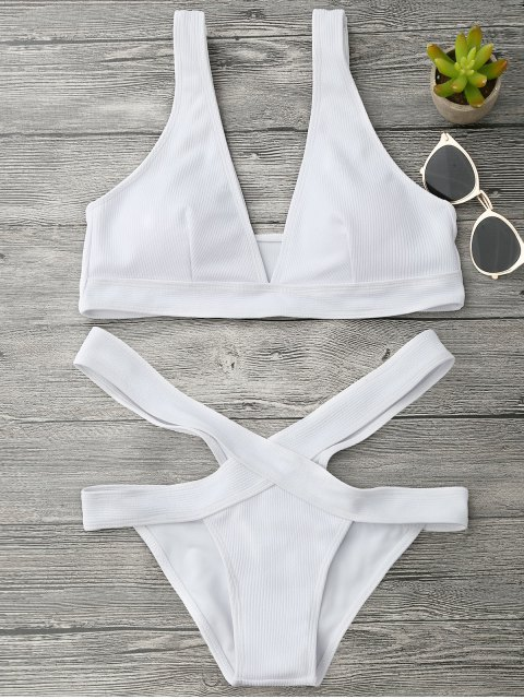 chic Plunge Midi Bikini Top and Bandage Bottoms - WHITE M Mobile