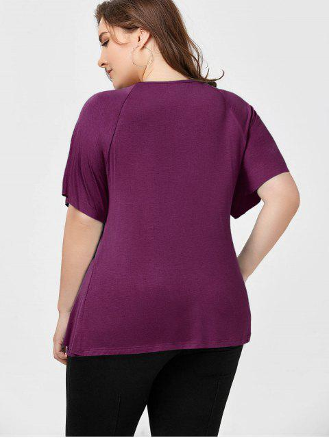 outfit Plus Size Raglan Sleeve Overlay T-Shirt - VIOLET ROSE 3XL Mobile