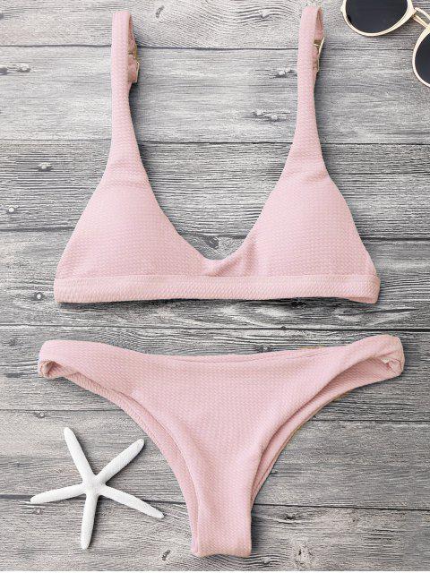 ladies Low Waisted Padded Scoop Bikini Set - PINK S Mobile