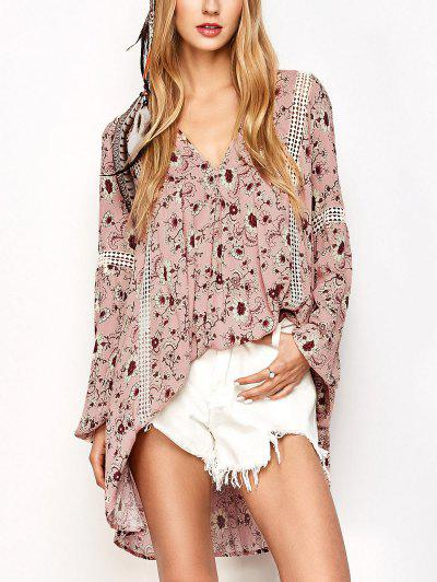 Floral Print Boho Swing Dress - Pink M