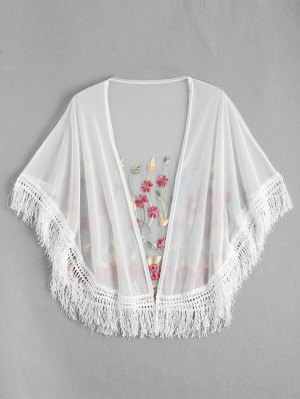 Embroidered Mesh Tassel Kimono Cover Up - White