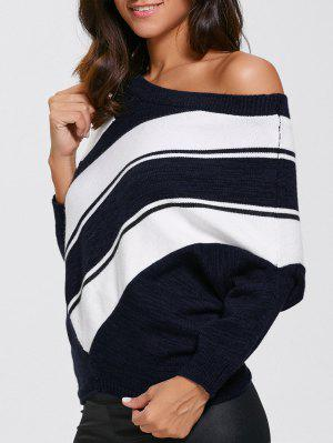 Pullover Skew Neck Color Block Sweater - Purplishblue + White S