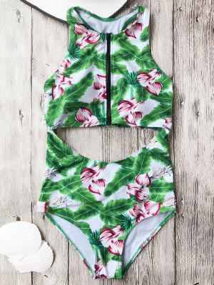 Zippered Traje De Baño Recortado - Verde Xl
