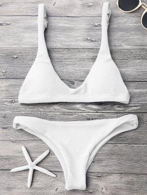 Low Waisted Padded Scoop Bikini Set - White M