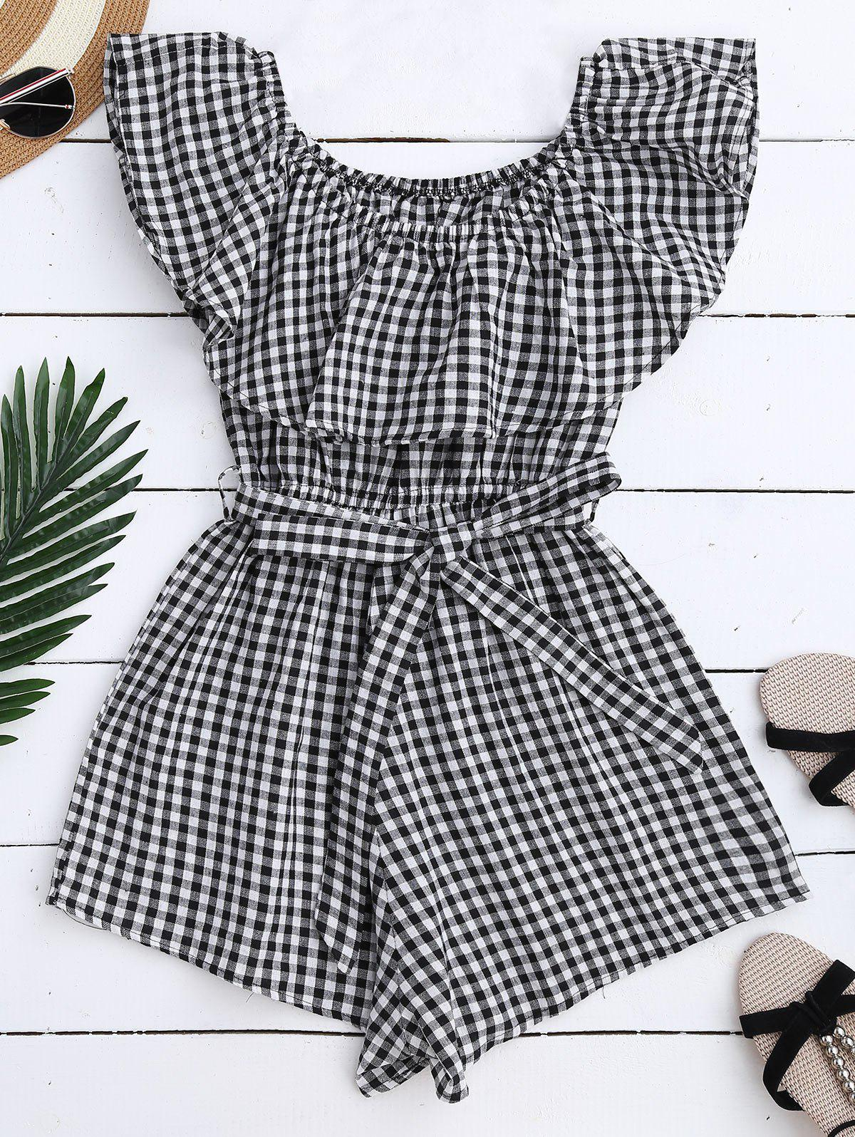 Off Shoulder Ruffle Plaid Romper With Belt 212275702